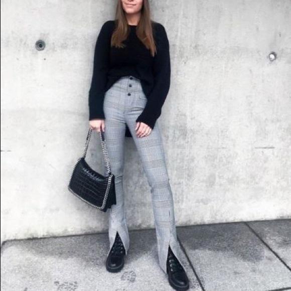 ZARA WOMAN BLACK WHITE CHECKED HIGH WAIST LEGGINGS 4716fe6bc1a